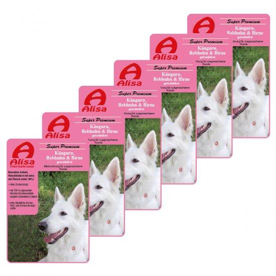 6 x Känguru, Rebhuhn & Birne Nassfutter Hund