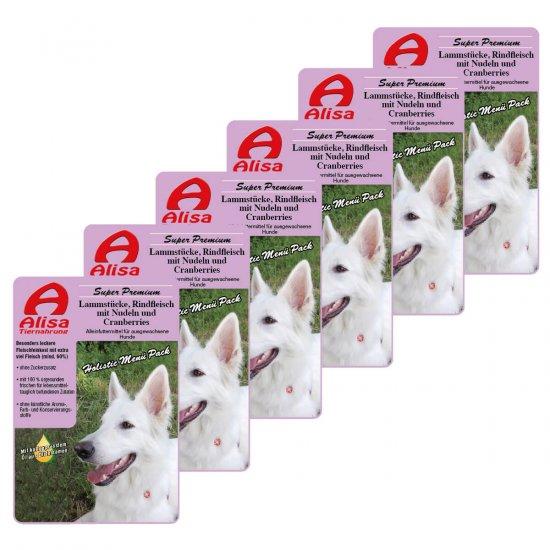 6 x Lamm, Rind, Nudeln und Cranberries Nassfutter Hund