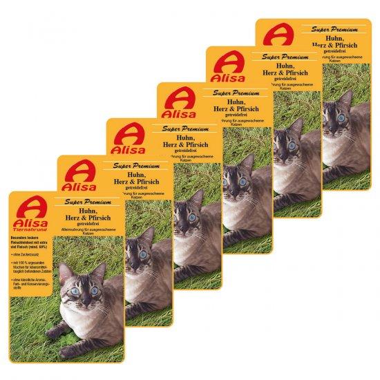 6 x Huhn, Herz & Pfirsich Katzen Nassfutter sensitiv