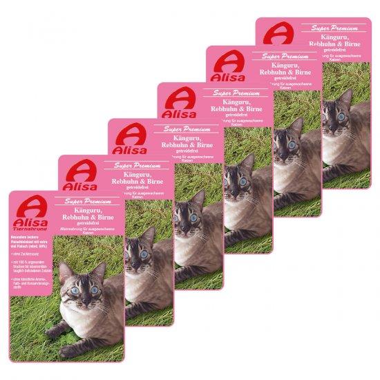 6 x Katzenfutter Känguru, Rebhuhn & Birne Katzen Nassfutter
