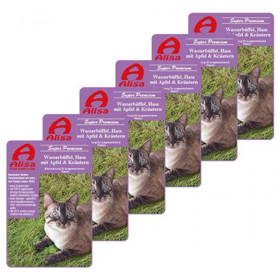 6 x Wasserbüffel, Hase Katzenfutter nass